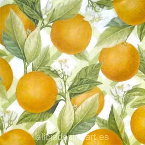Servilleta para decoupage con naranjas y flores - Decoracíon de muebles antiguos estilo Shabby Chic, Provenzal, Rómantico, Nórdico