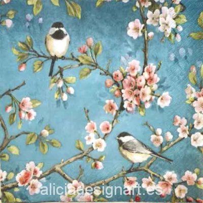 Servilleta para decoupage con pájaros y cerezo en flor - Decoracíon de muebles antiguos estilo Shabby Chic, Provenzal, Rómantico, Nórdico