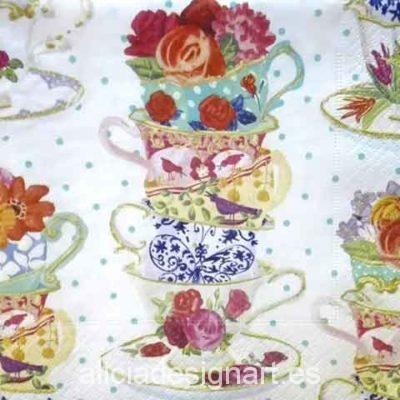 Servilleta para decoupage con tazas coloridas - Decoracíon de muebles antiguos estilo Shabby Chic, Provenzal, Rómantico, Nórdico