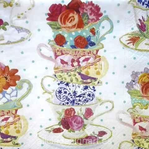 Servilleta para d coupage con tazas alicia designart for Decoupage con servilletas en muebles