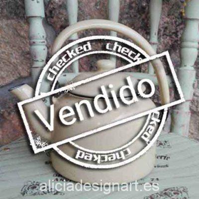 Tetera sueca esmaltada - Decoración de muebles antiguos estilo Shabby Chic, Provenzal, Romántico, Nórdico