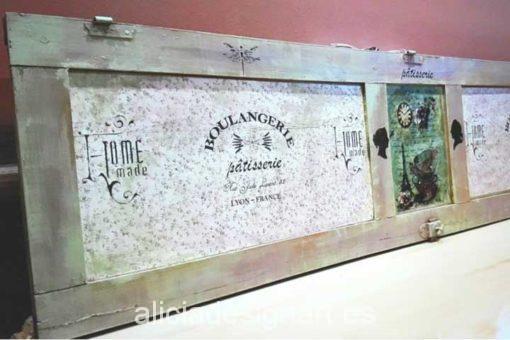 Perchero ventana reciclda Boulangerie - Decoracíon de muebles antiguos estilo Shabby Chic, Provenzal, Rómantico, Nórdico