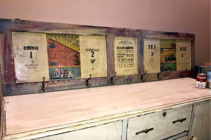 Perchero ventana reciclda Route 66 - Decoracíon de muebles antiguos estilo Shabby Chic, Provenzal, Rómantico, Nórdico