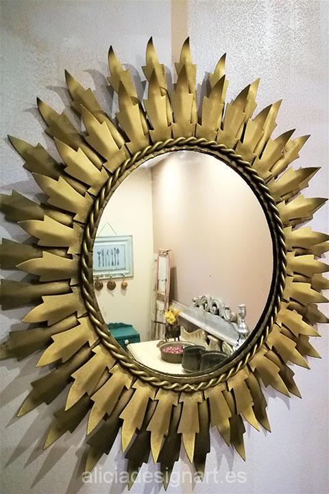 Espejo sol vintage metal redondo dorado 43 cm di metro for Espejo redondo vintage