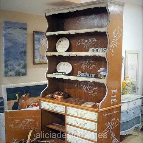 Alacena vintage decorada roble blanca shabby chic alicia - Muebles antiguos madrid ...