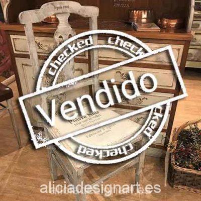 Silla antigua decorada estilo nórdico gustaviano blanco - Taller decoracíon de muebles antiguos Madrid estilo Shabby Chic, Provenzal, Rómantico, Nórdico