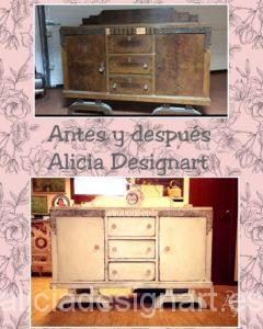 aparador antiguo antes de la restauración Alicia Designart