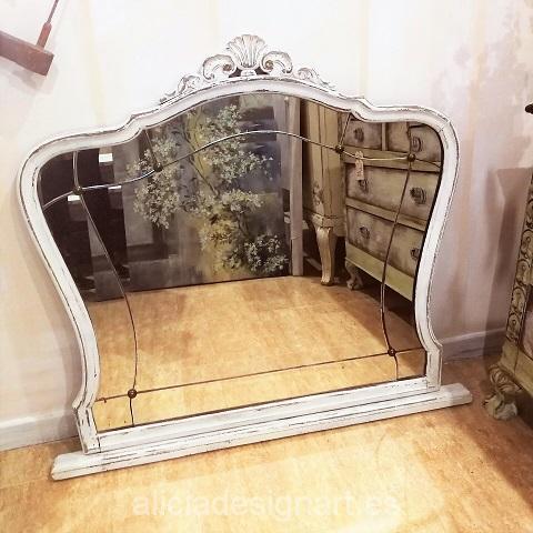 Espejo antiguo rom ntico blanco decapado biselado estilo for Espejo blanco envejecido