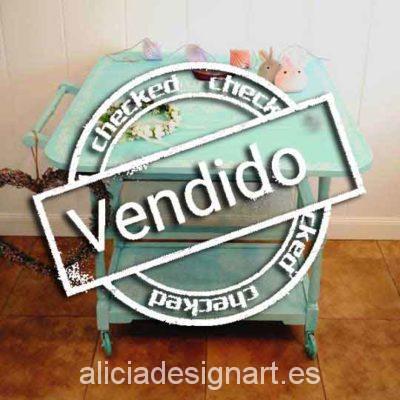Carrito camarera Candy bar decorado Shabby Chic verde - Taller decoracíon de muebles antiguos Madrid estilo Shabby Chic, Provenzal, Rómantico, Nórdico