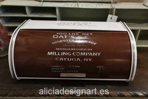 Panera metal blanco y chocolate vintage atrezzo - Taller decoracíon de muebles antiguos Madrid estilo Shabby Chic, Provenzal, Rómantico, Nórdico