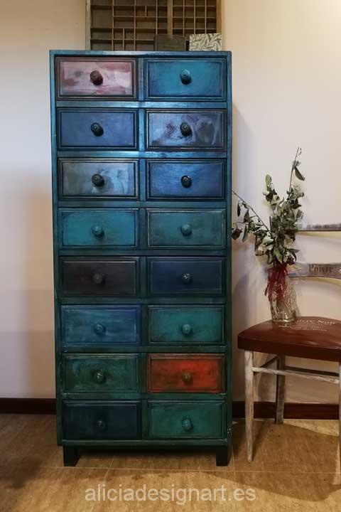 Sinfonier antiguo reciclado y decorado estilo boho chic - Muebles estilo antiguo ...