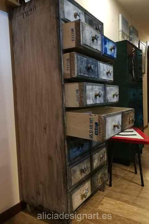 Sinfonier antiguo decorado estilo Industrial Retro Vintage - Taller decoracíon de muebles antiguos Madrid estilo Shabby Chic, Provenzal, Rómantico, Nórdico
