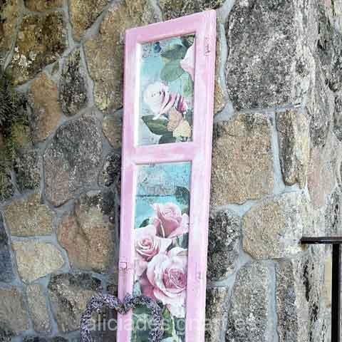 Ventana reciclada con rosas estilo Shabby Chic Romántico - Taller decoracíon de muebles antiguos Madrid estilo Shabby Chic, Provenzal, Rómantico, Nórdico