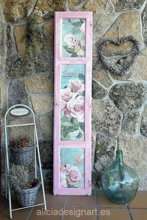 Ventana vintage de madera maciza recuperada y decorada - Shabby chic muebles ...