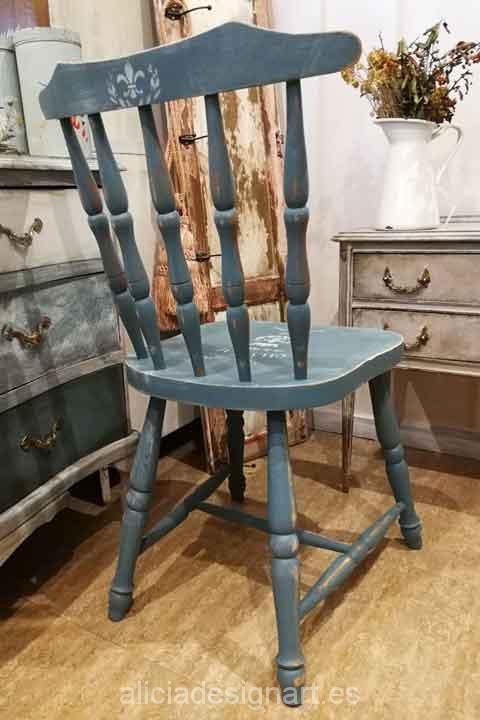 Silla Windsor madera maciza decorada Shabby Chic - Taller decoracíon de muebles antiguos Madrid estilo Shabby Chic, Provenzal, Rómantico, Nórdico