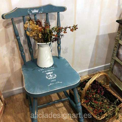 Silla vintage windsor decorada shabby chic campestre azul - Muebles shabby chic online ...