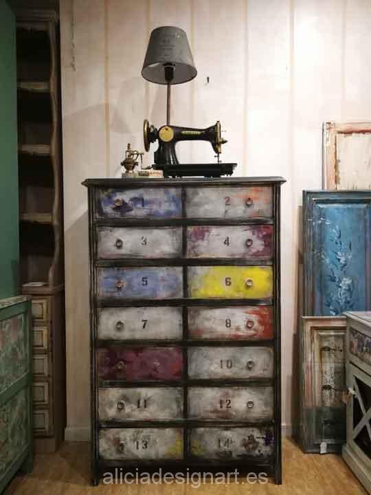 Sinfonier antiguo decorado estilo Industrial Retro Vintage por encargo - Taller decoracíon de muebles antiguos Madrid estilo Shabby Chic, Provenzal, Romántico, Nórdico