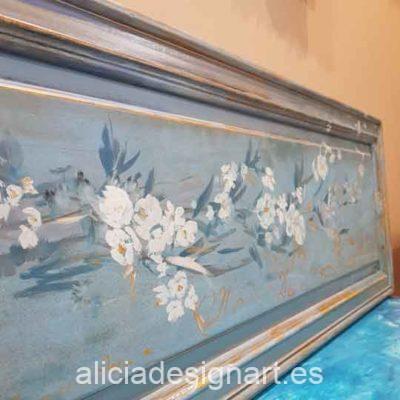 Cuadro con motivos florales pintados a mano alzada sobre tabla de roble macizo - Taller decoracíon de muebles antiguos Madrid estilo Shabby Chic, Provenzal, Rómantico, Nórdico