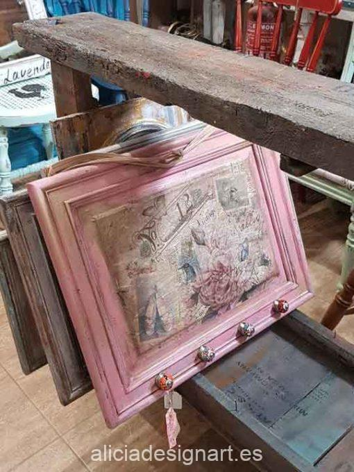 Cuadro colgador Shabby Chic Romántico color rosa - Taller de decoración de muebles antiguos Madrid estilo Shabby Chic, Provenzal, Romántico, Nórdico