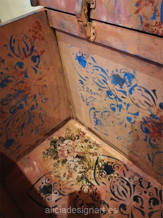 Baúl antiguo decorado por encargo estilo Boho Chic - Taller decoracíon de muebles antiguos Madrid estilo Shabby Chic, Provenzal, Rómantico, Nórdico