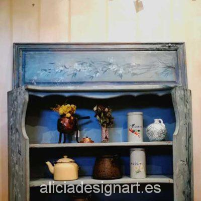 Cuadro para estantería antigua vintage con motivos florales pintados a mano - Taller decoracíon de muebles antiguos Madrid estilo Shabby Chic, Provenzal, Rómantico, Nórdico