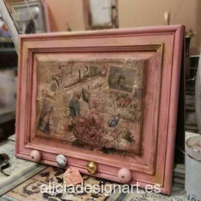 Cuadro colgador Shabby Chic Romántico color rosa - Taller decoracíon de muebles antiguos Madrid estilo Shabby Chic, Provenzal, Rómantico, Nórdico