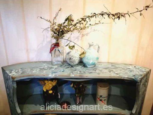 Estantería antigua vintage con motivos florales pintados a mano - Taller decoracíon de muebles antiguos Madrid estilo Shabby Chic, Provenzal, Rómantico, Nórdico