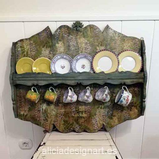 Platero colgador antiguo decorado estilo Vintage Provenzal - Taller decoracíon de muebles antiguos Madrid estilo Shabby Chic, Provenzal, Rómantico, Nórdico