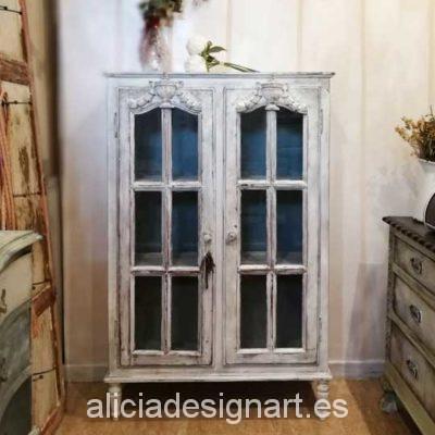 Vitrina antigua Shabby Chic Romántico gris y azul - Taller decoracíon de muebles antiguos Madrid estilo Shabby Chic, Provenzal, Rómantico, Nórdico
