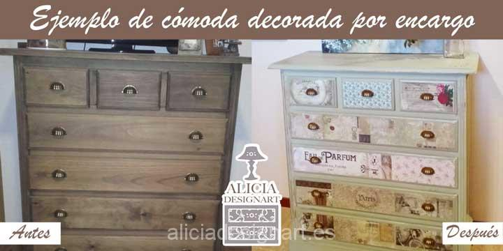 Comoda decorada por encargo entes y despues - Taller decoracíon de muebles antiguos Madrid estilo Shabby Chic, Boho Chic, Provenzal, Rómantico, Nórdico, Industrial