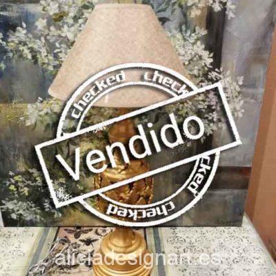 Lámpara estilo Manises en cerámica dorada hojas acanto - Taller decoración de muebles antiguos Madrid estilo Shabby Chic, Provenzal, Rómantico, Nórdico