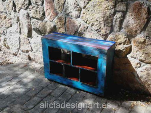 Mesita TV madera maciza decorada estilo Boho Chic azul - Taller decoracíon de muebles antiguos Madrid estilo Shabby Chic, Provenzal, Rómantico, Nórdico