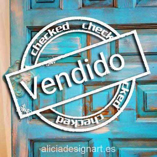 Puerta vintage madera maciza decorada estilo Boho Chic azul - Taller decoración de muebles antiguos Madrid estilo Shabby Chic, Provenzal, Rómantico, Nórdico