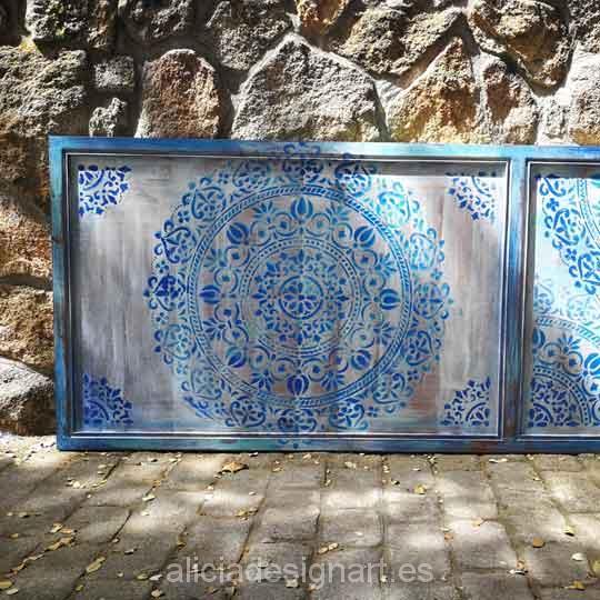 Cabecero para colgar decorado estilo Boho Chic con stencil mandala XL - Taller decoración de muebles antiguos Alicia Designart Madrid.