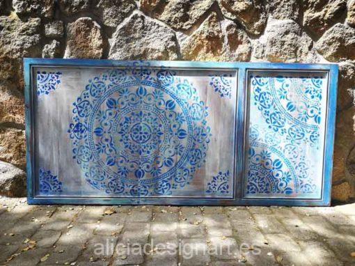 Cabecero para colgar decorado estilo Boho Chic con stencil mandala XL - Taller decoración de muebles antiguos Alicia Designart Madrid