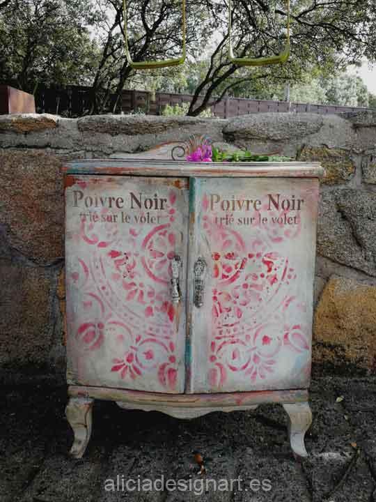Mesita de noche rom ntica estilo boho chic rosa alicia designart - Mesitas de noche romanticas ...
