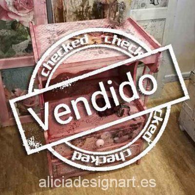 Mesita vintage dos cajones decorada estilo Shabby Chic- Taller decoracíon de muebles antiguos Madrid estilo Shabby Chic, Provenzal, Rómantico, Nórdico