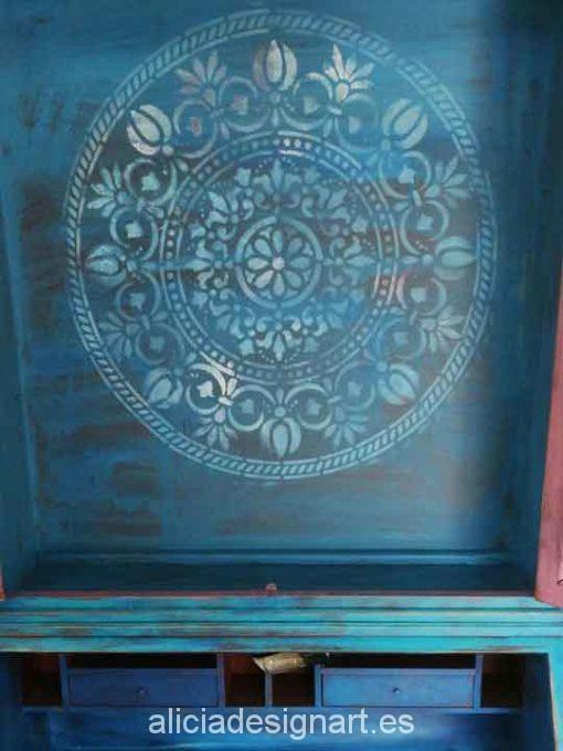 Stencil estarcido XL mandala 90 cm - Taller decoracíon de muebles antiguos Madrid estilo Shabby Chic, Provenzal, Rómantico, Nórdico