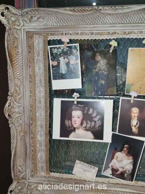 Colgador marco antiguo rococó estilo Shabby Chic francés - Taller de decoración de muebles antiguos Alicia Designart Madrid