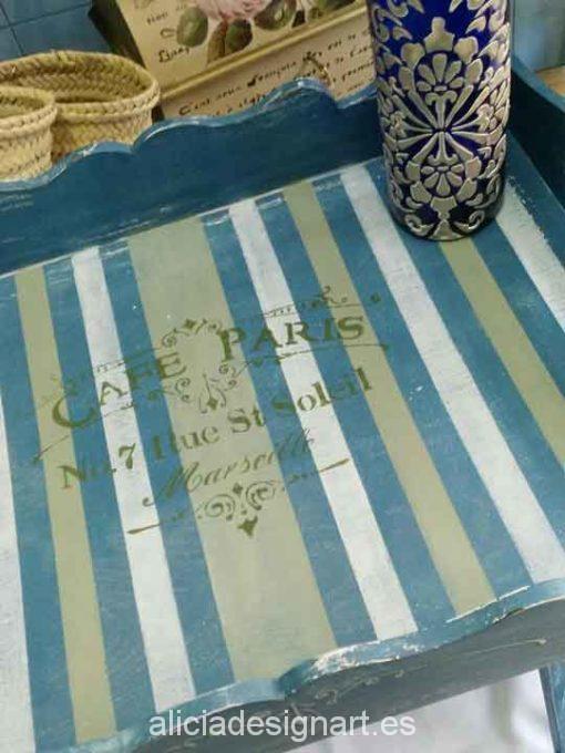 Mesia auxiliar azul y stencils - Taller decoración de muebles antiguos Madrid estilo Shabby Chic, Provenzal, Rómantico, Nórdico