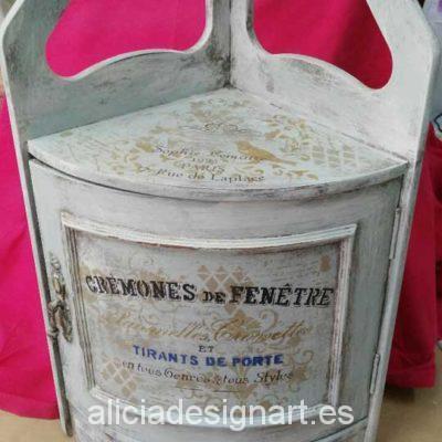 Rinconera Shabby chic con stencil - Taller decoración de muebles antiguos Madrid estilo Shabby Chic, Provenzal, Rómantico, Nórdico