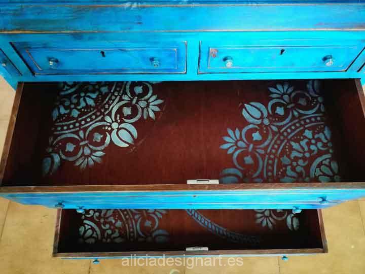 Escritorio vitrina antiguo decorado Boho chic con stencil - Taller decoración de muebles antiguos Madrid estilo Shabby Chic, Provenzal, Rómantico, Nórdico