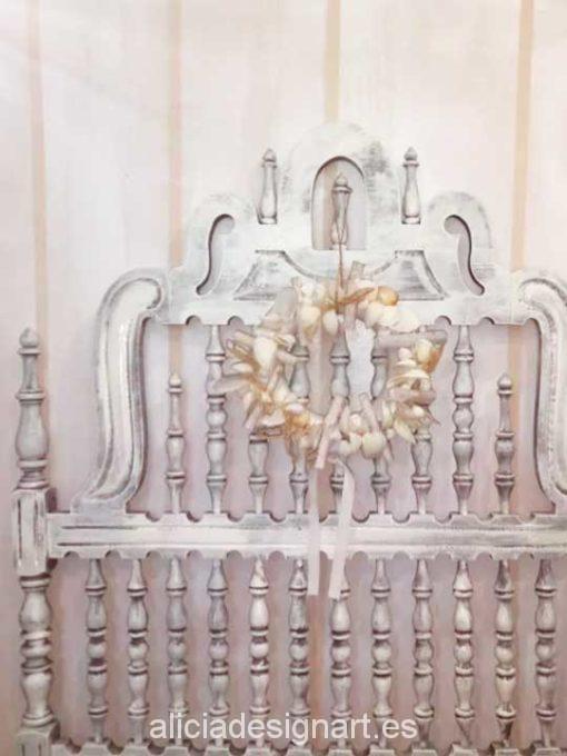 Cabecero antiguo Valenti decorado shabby chic blanco - Taller decoración de muebles antiguos Madrid estilo Shabby Chic, Provenzal, Rómantico, Nórdico