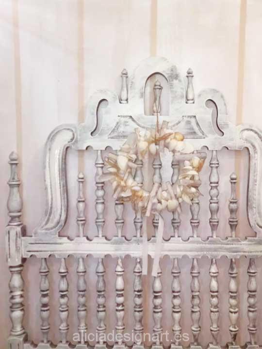 Cabeceros antiguos Valenti decorado shabby chic blanco - Taller decoración de muebles antiguos Madrid estilo Shabby Chic, Provenzal, Rómantico, Nórdico