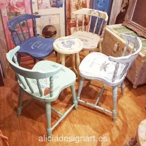 Conjunto de 4 sillas Windsor vintage estilo provenzal con stencil - Taller decoración de muebles antiguos Madrid estilo Shabby Chic, Provenzal, Rómantico, Nórdico