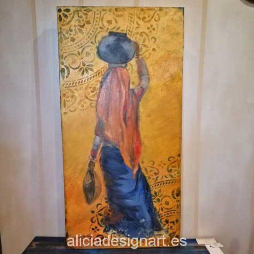 Cuadro original pintado a mano India con Botijo por Alicia Dominguez Lopez - Taller decoración de muebles antiguos Madrid estilo Shabby Chic, Provenzal, Rómantico, Nórdico