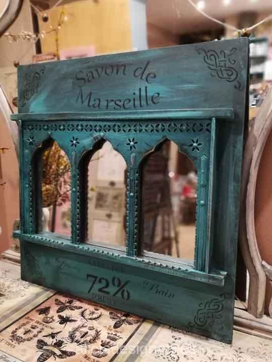 Espejo boho chic oriental esmeralda - Taller decoración de muebles antiguos Madrid estilo Shabby Chic, Provenzal, Rómantico, Nórdico