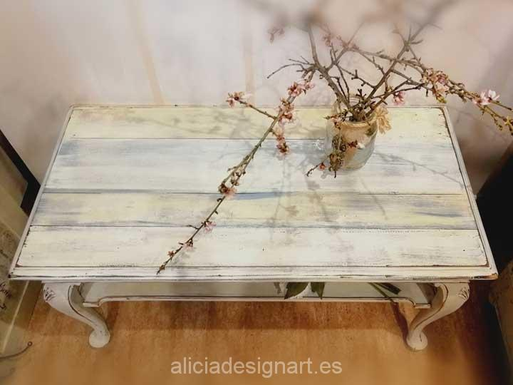 Mesita de centro rectangular decorada shabby chic blanco - Taller decoración de muebles antiguos Madrid estilo Shabby Chic, Provenzal, Rómantico, Nórdico