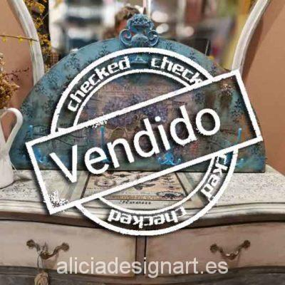 Perchero boho chic 4 tiradores con hortensias - Taller decoración de muebles antiguos Madrid estilo Shabby Chic, Provenzal, Rómantico, Nórdico