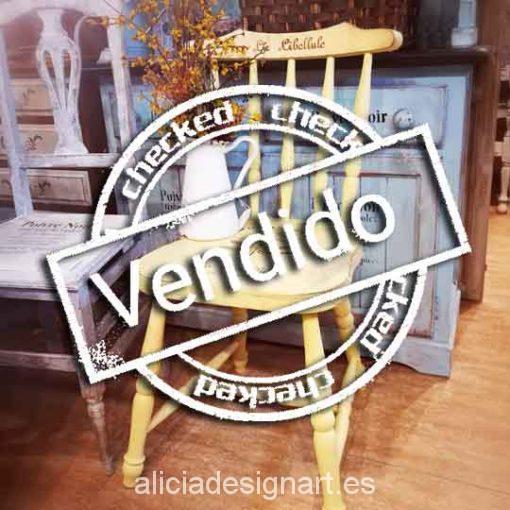 Silla Windsor vintage shabby chic amarillo con stencil - Taller decoración de muebles antiguos Madrid estilo Shabby Chic, Provenzal, Rómantico, Nórdico